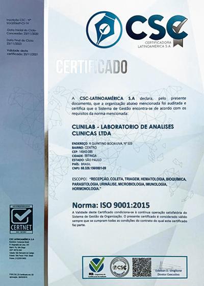 Certificado Gestão de Qualidade ISO 9001:2015 - Clinilab Ibitinga